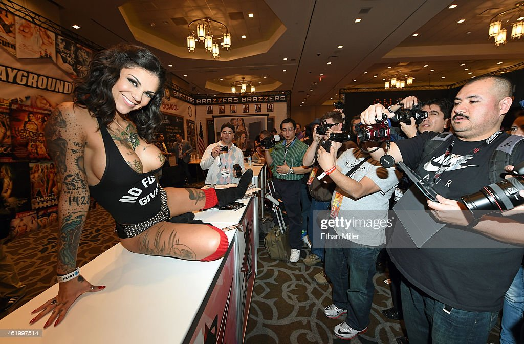 Adult film actress and model Bonnie Rotten poses for attendees at the Digital Playground booth at the 2015 AVN Adult Entertainment Expo at the Hard Rock Hotel & Casino on January 22, 2015 in Las Vegas, Nevada.