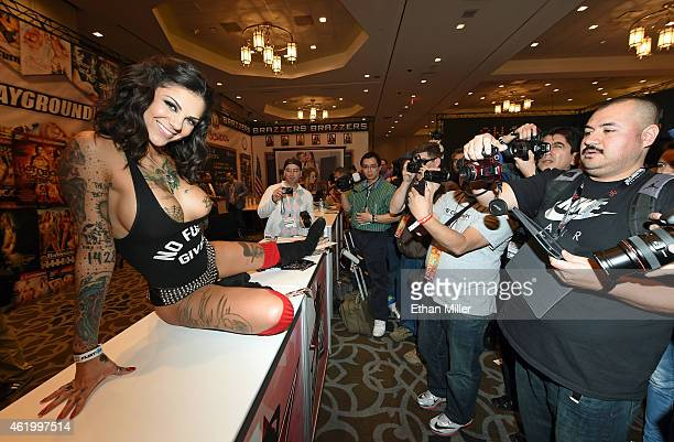 Adult film actress and model Bonnie Rotten poses for attendees at the Digital Playground booth at the 2015 AVN Adult Entertainment Expo at the Hard...