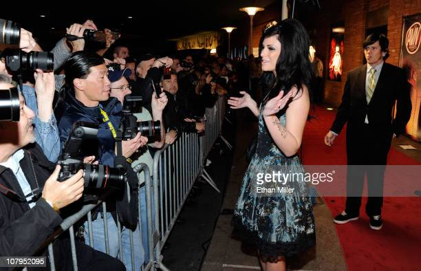 Adult film actress Andy San Dimas greets fans as she arrives at the 28th annual Adult Video News Awards Show at the Palms Casino Resort January 8...