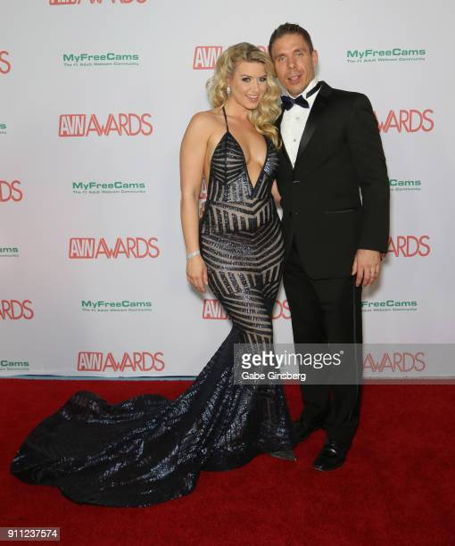 Adult film actress Anikka Albrite and her husband adult film actor/director Mick Blue attend the 2018 Adult Video News Awards at the Hard Rock Hotel...