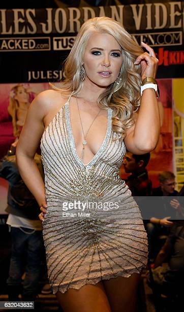 Adult film actress Anikka Albrite appears at the Jules Jordan Video booth at the 2017 AVN Adult Entertainment Expo at the Hard Rock Hotel Casino on...