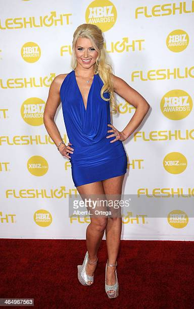 Adult film actress Anikka Albrite arrives for the 2014 XBIZ Awards held at The Hyatt Regency Century Plaza Hotel on January 24 2014 in Century City...