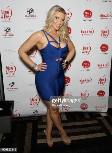 Adult film actress Anikka Albrite poses at the Adam Eve booth during the 2018 AVN Adult Expo at the Hard Rock Hotel Casino on January 24 2018 in Las...