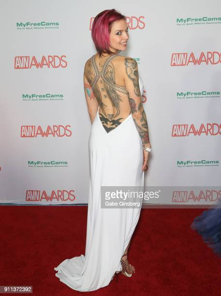 Adult film actress Anna Bell Peaks attends the 2018 Adult Video News Awards at the Hard Rock Hotel Casino on January 27 2018 in Las Vegas Nevada