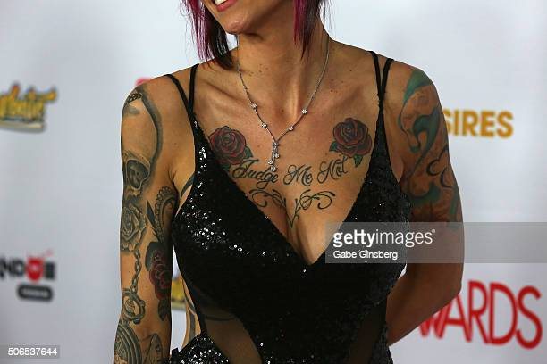 Adult film actress Anna Bell Peaks tattoos necklace detail attends the 2016 Adult Video News Awards at the Hard Rock Hotel Casino on January 23 2016...