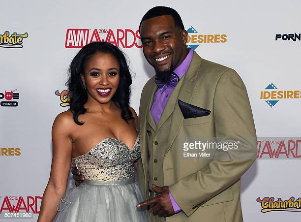 Adult film actress Anya Ivy and adult film actor Rome Major attend the 2016 Adult Video News Awards at the Hard Rock Hotel Casino on January 23 2016...