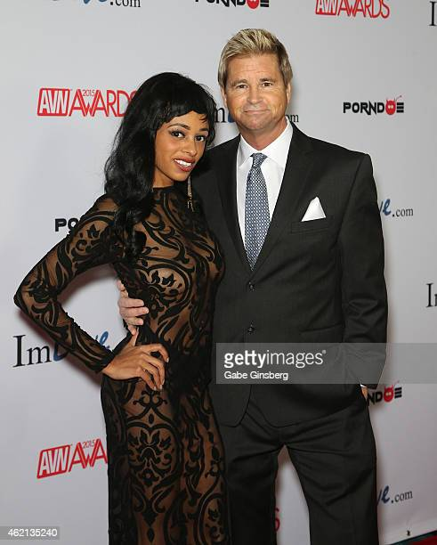 Adult film actress Anya Ivy and adult film director/producer Will Ryder arrive at the 2015 Adult Video News Awards at the Hard Rock Hotel Casino on...