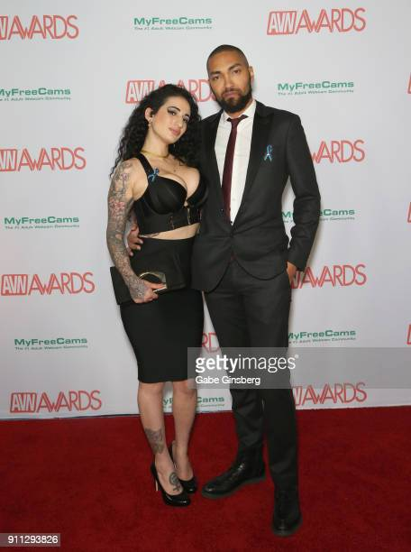 Adult film actress Arabelle Raphael and adult film actor Mickey Mod attend the 2018 Adult Video News Awards at the Hard Rock Hotel Casino on January...