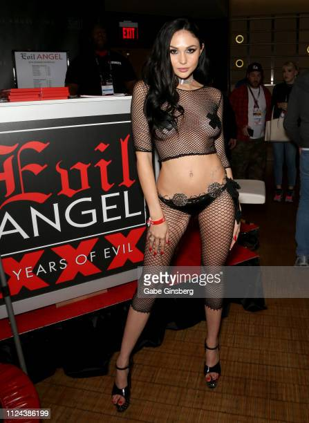 Adult film actress Ariana Marie poses in the Evil Angel booth at the 2019 AVN Adult Entertainment Expo at the Hard Rock Hotel Casino on January 23...