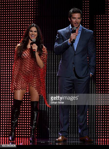 Adult film actress Aspen Rae and comedian Colin Kane cohost the 2017 Adult Video News Awards at The Joint inside the Hard Rock Hotel Casino on...