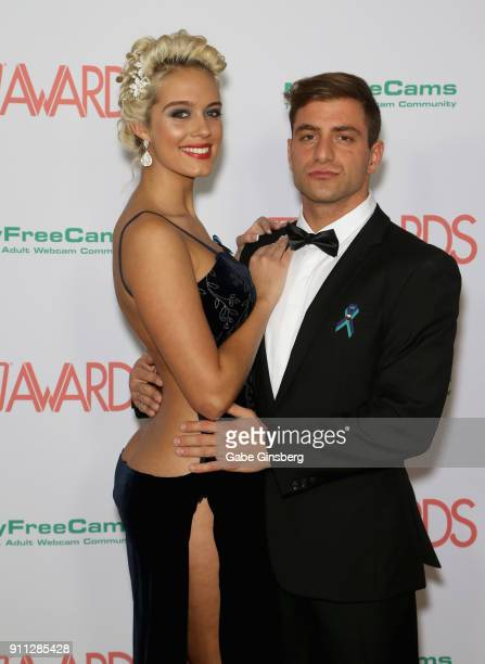 Adult film actress Athena Palomino and adult film actor Jason Moody attend the 2018 Adult Video News Awards at the Hard Rock Hotel Casino on January...