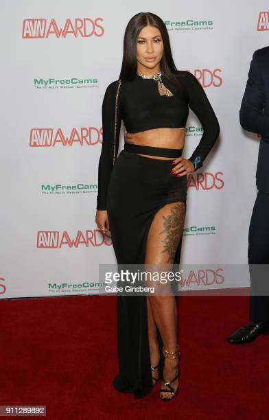 Adult film actress Aubrey Addams attends the 2018 Adult Video News Awards at the Hard Rock Hotel Casino on January 27 2018 in Las Vegas Nevada