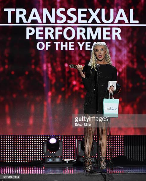 Adult film actress Aubrey Kate accepts the award for Transsexual Performer of the Year during the 2017 Adult Video News Awards at The Joint inside...