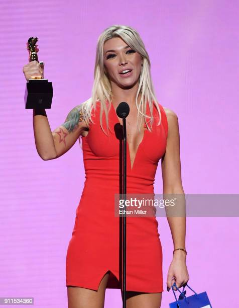 Adult film actress Aubrey Kate accepts the award for Transsexual Performer of the Year during the 2018 Adult Video News Awards at The Joint inside...