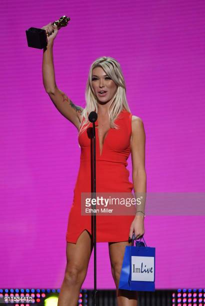 Adult film actor Aubrey Kate accepts the award for Transsexual Performer of the Year during the 2018 Adult Video News Awards at The Joint inside the...