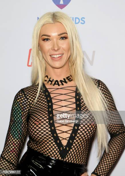 Adult film actress Aubrey Kate attends the 2019 GayVN Awards show at The Joint inside the Hard Rock Hotel Casino on January 21 2019 in Las Vegas...