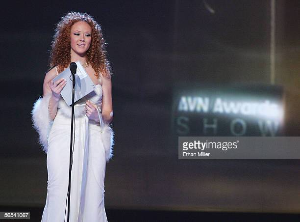 Adult film actress Audrey Hollander accepts the Female Performer of the Year award at the Adult Video News Awards Show at the Venetian Resort Hotel...