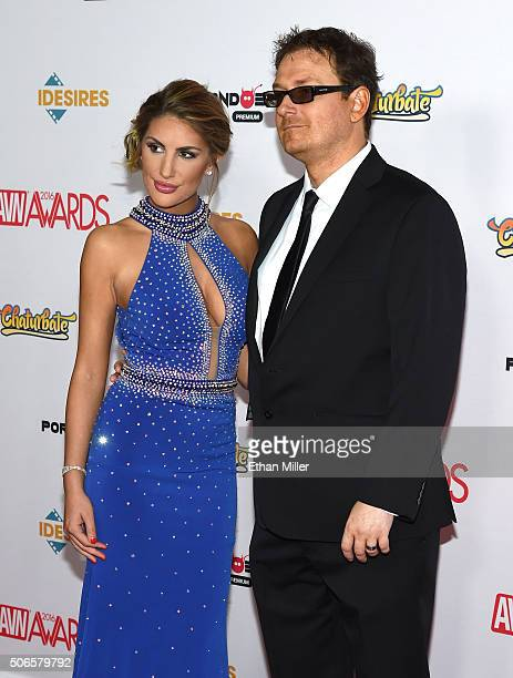 Adult film actress August Ames and adult film producer Kevin Moore attend the 2016 Adult Video News Awards at the Hard Rock Hotel Casino on January...