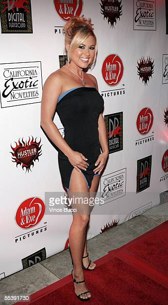 Adult film actress Austyn Moore attends the Digital Playground Adam and Eve production of the XXX rated film 'Pirates' on September 12 2005 at the...
