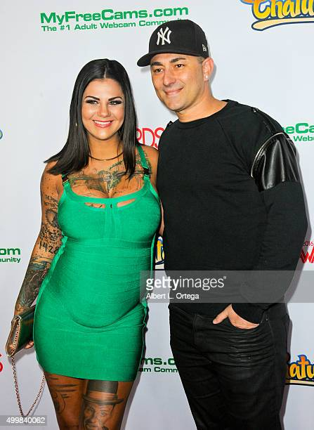 Adult film actress Bonnie Rotten and musician Dennis Desantis at the 2016 AVN Awards Nomination Party held at Avalon on November 19, 2015 in...