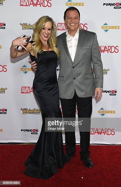 Adult film actress Brandi Love and adult film director Jonathan Morgan attend the 2016 Adult Video News Awards at the Hard Rock Hotel Casino on...