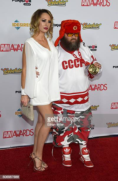 Adult film actress Brett Rossi and director Ivan attend the 2016 Adult Video News Awards at the Hard Rock Hotel Casino on January 23 2016 in Las...