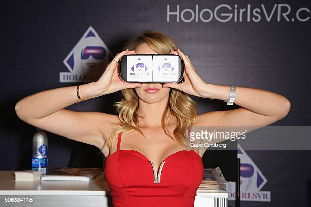 Adult film actress Brett Rossi tries an adultthemed virtual reality program during the 2016 AVN Adult Entertainment Expo at the Hard Rock Hotel...