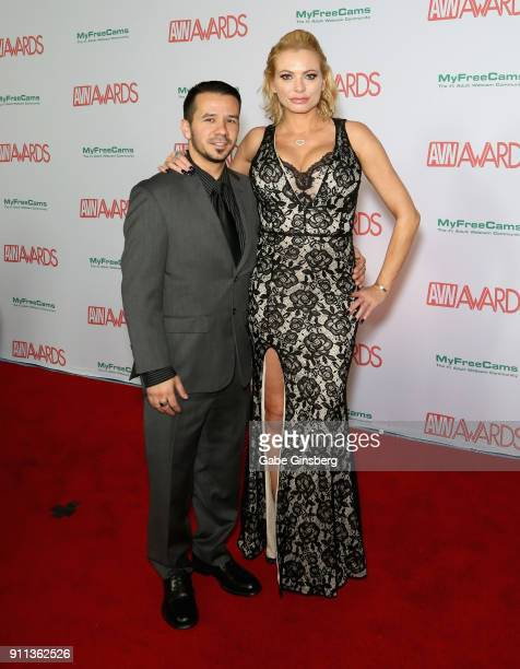 Adult film actress Briana Banks and a guest attend the 2018 Adult Video News Awards at the Hard Rock Hotel Casino on January 27 2018 in Las Vegas...