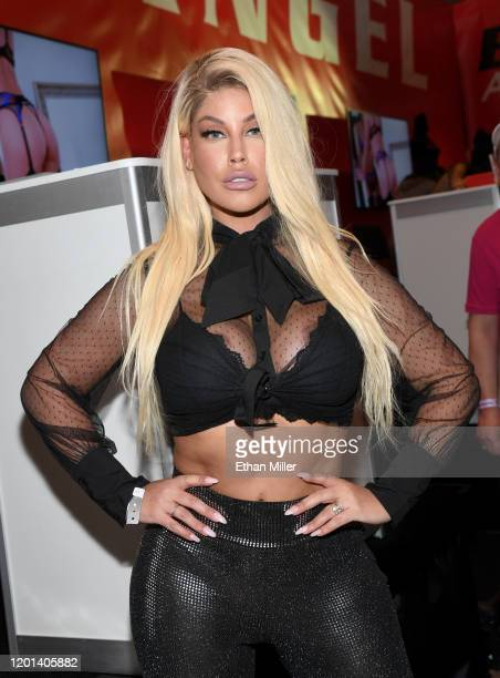 Adult film actress Bridgette B poses at the Evil Angel booth at the 2020 AVN Adult Entertainment Expo at the Hard Rock Hotel & Casino on January 22,...