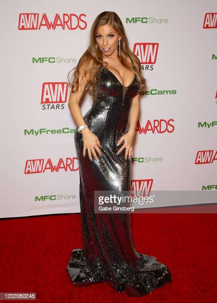 Adult film actress Britney Amber attends the 2020 Adult Video News Awards at The Joint inside the Hard Rock Hotel Casino on January 25 2020 in Las...