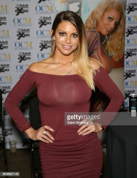 Adult film actress Brooklyn Chase poses at the OC Modeling booth at the 2018 AVN Adult Entertainment Expo at The Joint inside the Hard Rock Hotel...