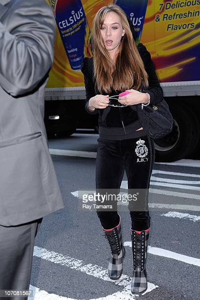 Adult film actress Capri Anderson enters a Midtown Manhattan office building on November 22 2010 in New York City