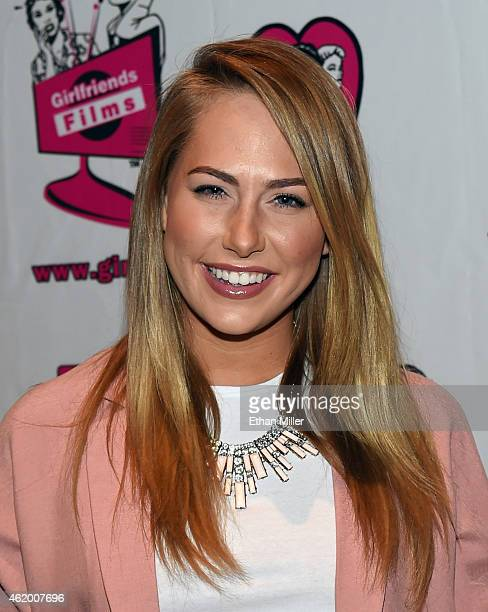 Adult film actress Carter Cruise poses at the Girlfriends Films booth at the 2015 AVN Adult Entertainment Expo at The Joint inside the Hard Rock...