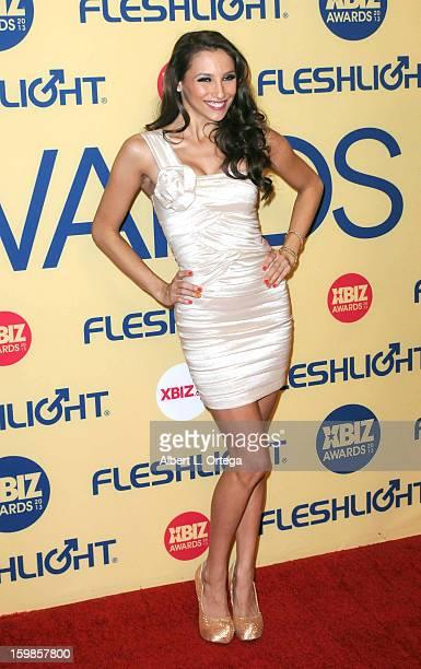 Adult film actress Celeste Star arrives for the 2013 XBIZ Awards held at the Hyatt Regency Century Plaza on January 11 2013 in Century City California