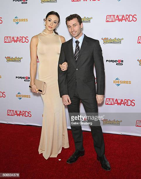 Adult film actress Chanel Preston and adult film actor James Deen attend the 2016 Adult Video News Awards at the Hard Rock Hotel Casino on January 23...
