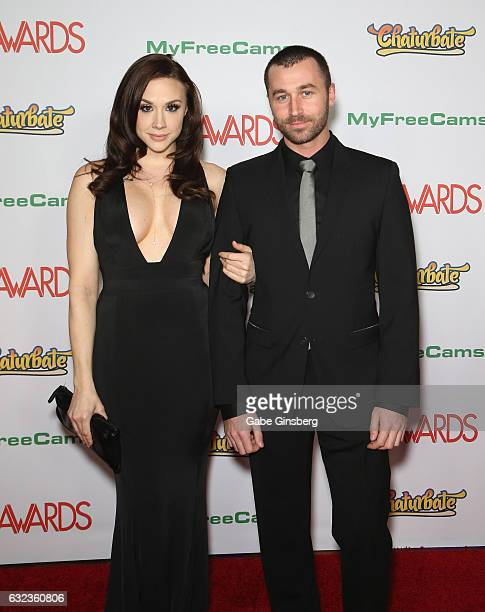 Adult film actress Chanel Preston and adult film actor James Deen attend the 2017 Adult Video News Awards at the Hard Rock Hotel Casino on January 21...