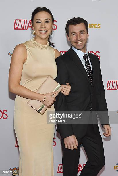 Adult film actress Chanel Preston and adult film actor/director James Deen attend the 2016 Adult Video News Awards at the Hard Rock Hotel Casino on...