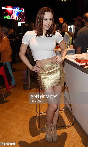 Adult film actress Chanel Preston poses at the Evil Angel booth at the 2015 AVN Adult Entertainment Expo at The Joint inside the Hard Rock Hotel...
