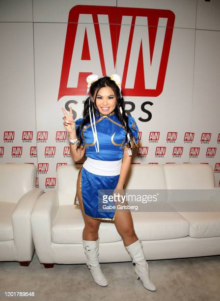 Adult film actress Cindy Starfall poses at the AVN Stars booth during the 2020 AVN Adult Expo at the Hard Rock Hotel Casino on January 24 2020 in Las...