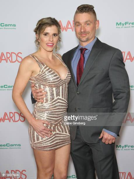 Adult film actress Cory Chase and adult film actor Luke Longly attends the 2018 Adult Video News Awards at the Hard Rock Hotel Casino on January 27...