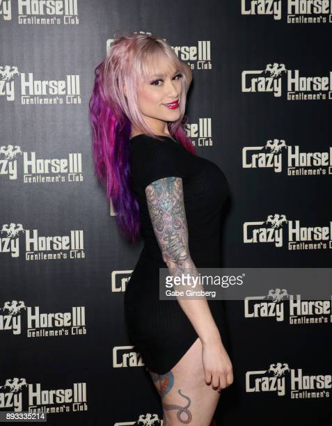 Adult film actress Daizha Morgann attends the Crazy Horse III Gentlemen's Club's NEON Flow holiday party on December 14 2017 in Las Vegas Nevada