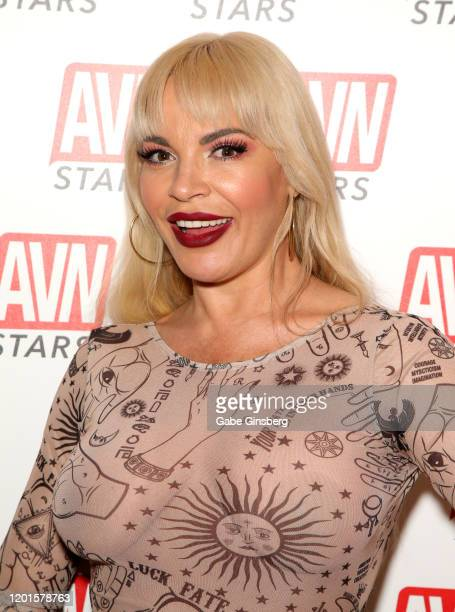 Adult film actress Dana DeArmond poses at the AVN Stars booth during the 2020 AVN Adult Expo at the Hard Rock Hotel Casino on January 23 2020 in Las...