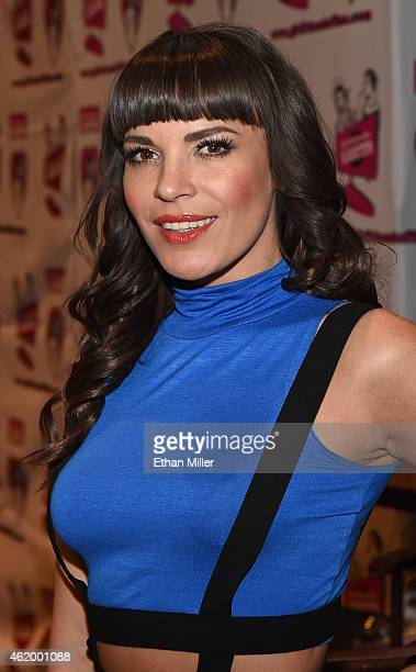 Adult film actress Dana DeArmond poses at the Girlfriends Films booth at the 2015 AVN Adult Entertainment Expo at The Joint inside the Hard Rock...