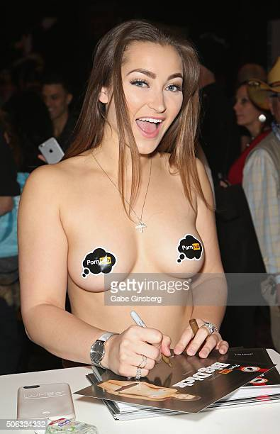 Adult film actress Dani Daniels signs autographs during the 2016 AVN Adult Entertainment Expo at the Hard Rock Hotel & Casino on January 22, 2016 in...