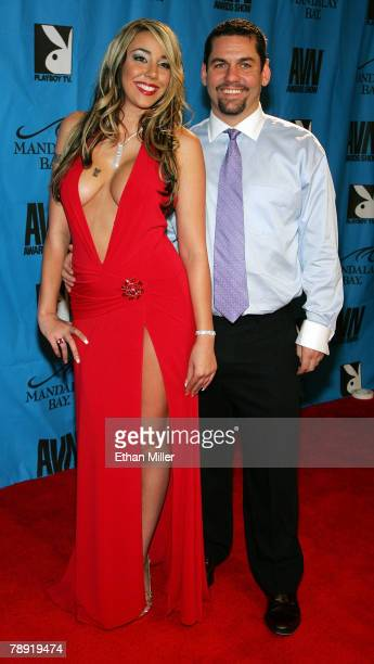 Adult film actress Delilah Strong and director Jonalungus arrive at the 25th annual Adult Video News Awards Show at the Mandalay Bay Events Center...