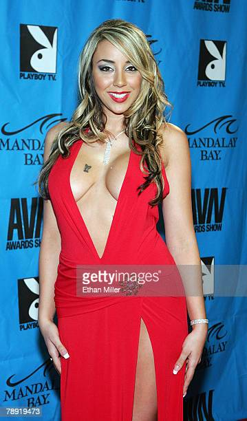 Adult film actress Delilah Strong arrives at the 25th annual Adult Video News Awards Show at the Mandalay Bay Events Center January 12 2008 in Las...