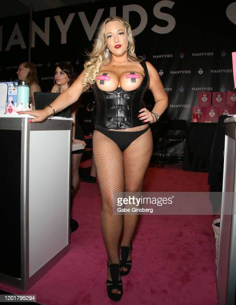 Adult film actress Dirty Princess poses at the ManyVids booth during the 2020 AVN Adult Expo at the Hard Rock Hotel Casino on January 24 2020 in Las...