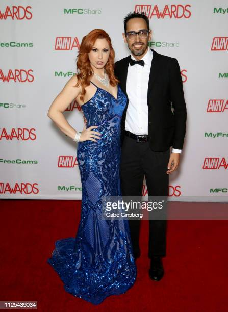 Adult film actress Edyn Blair and a guest attend the 2019 Adult Video News Awards at The Joint inside the Hard Rock Hotel Casino on January 26 2019...