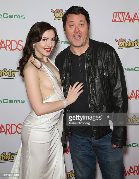 Adult film actress Ember Stone and comedian/actor Doug Benson attend the 2017 Adult Video News Awards at the Hard Rock Hotel Casino on January 21...