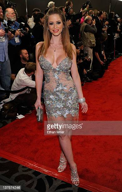 Adult film actress Emily Addison arrives at the 29th annual Adult Video News Awards Show at the Hard Rock Hotel Casino January 21 2012 in Las Vegas...